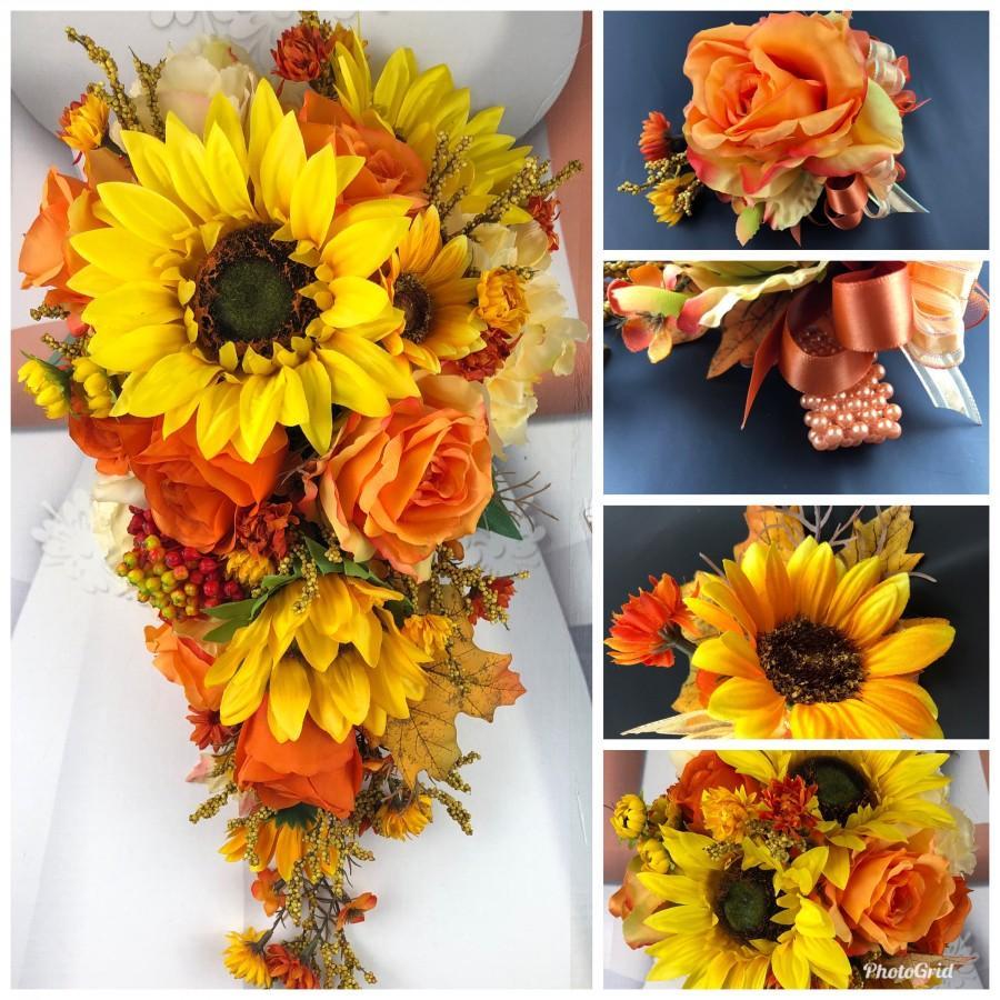 Wedding - Fall in Love Artificial Sunflower Bridal Bouquet Set, Fall Sunflower Bridal Flowers, Orange Sunflower Wedding Flowers