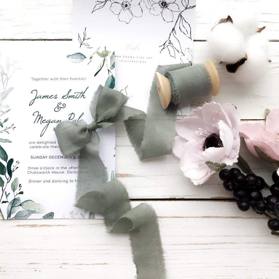 Mariage - Sage green silk ribbon Ribbon for bouquet in dusty green color