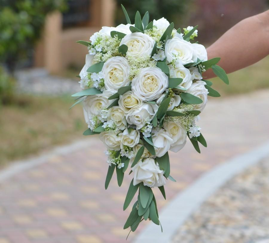 Wedding - Ivory Roses Eucalyptus Bridal Bouquets Real Touch Roses Rustic Boho Chic Wedding Bouquets