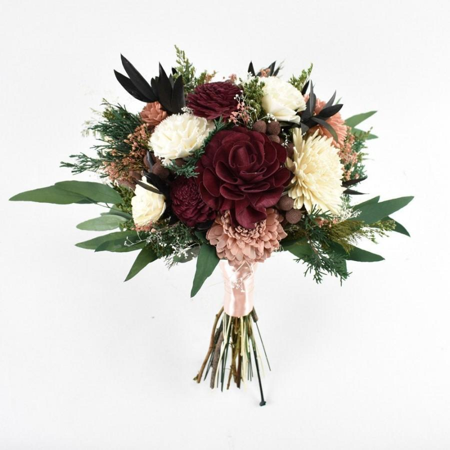 "Mariage - Burgundy and Cream Sola Flower Bouquet //""Blushing Beauty"" Wood Flower Bouquet, Keepsake Wood Flower Wedding Bouquet, Bridal Bouquet"