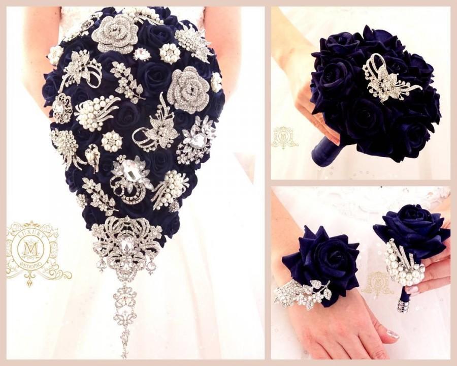 Wedding - Teardrop cascading navy blue silver brooch bouquet