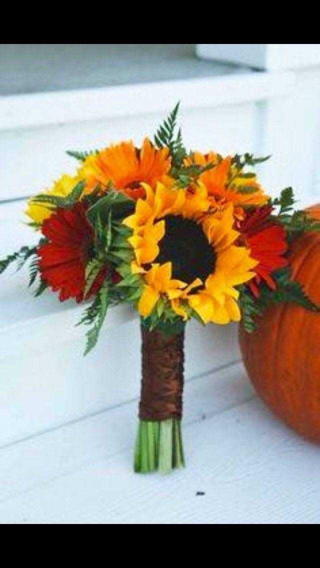 Wedding - Sunflower daisy fall wedding bouquet