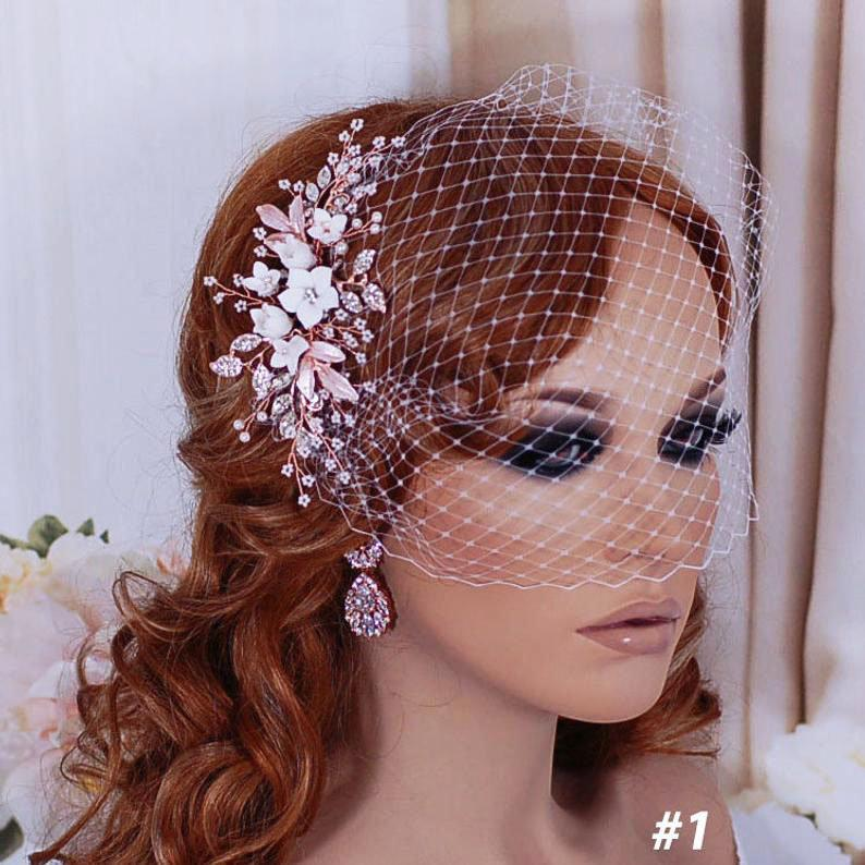 Wedding - Bridal Birdcage Veil Wedding Bird Cage Veils Hair Hairpiece Floral Rose Gold Accessory Jewelry Headpiece Head Piece Short Blusher Comb Clip