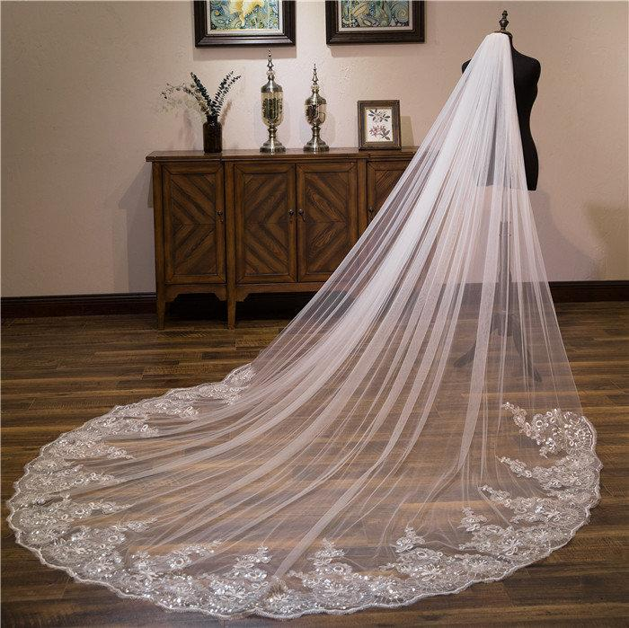 Wedding - 1 Tier Bridal Glitter Sequins Floral Lace Trim Wedding Veil Cathedral Length Bridal Veil 10 Feet 3 Meters 120 Inches Glam Veil Light Ivory