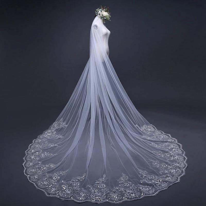 زفاف - Cathedral Wedding Veil with Sparkle Embroidery-Bridal Veil,ivory bridal Veil,Floral Veil,Wedding Veil with comb,White Embroide Wedding veil