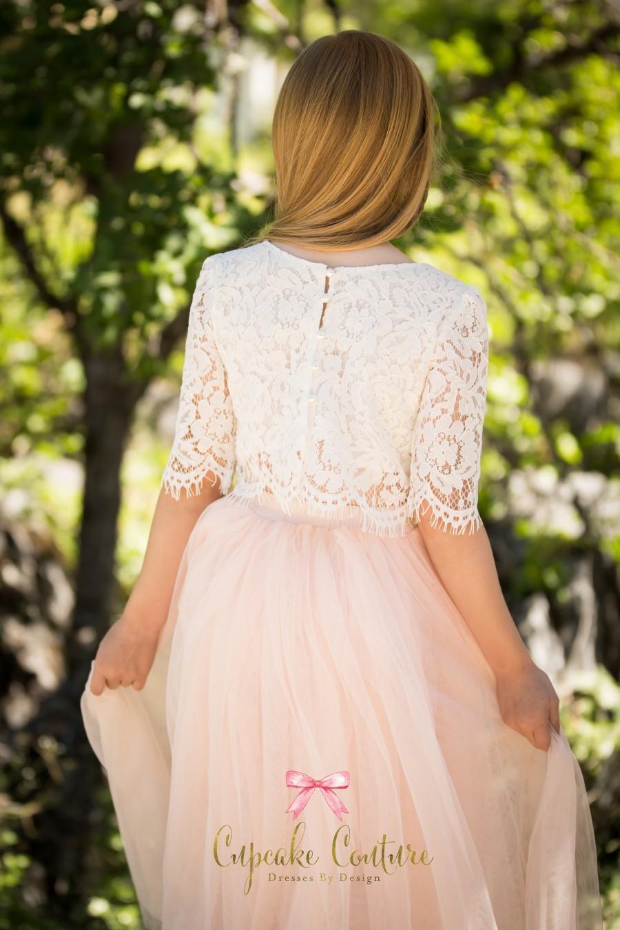 Mariage - Blush flower girl dress, toddler flower girl dress, tulle flower girl dress, long sleeve flower girl dress, flower girl dress