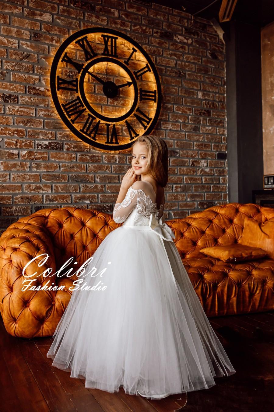 Wedding - Flower girl dress, Flower girl dress tulle, Flower girl dress long sleeve, Lace flower girl dress,  Communion dress, Flower girl dress ivory