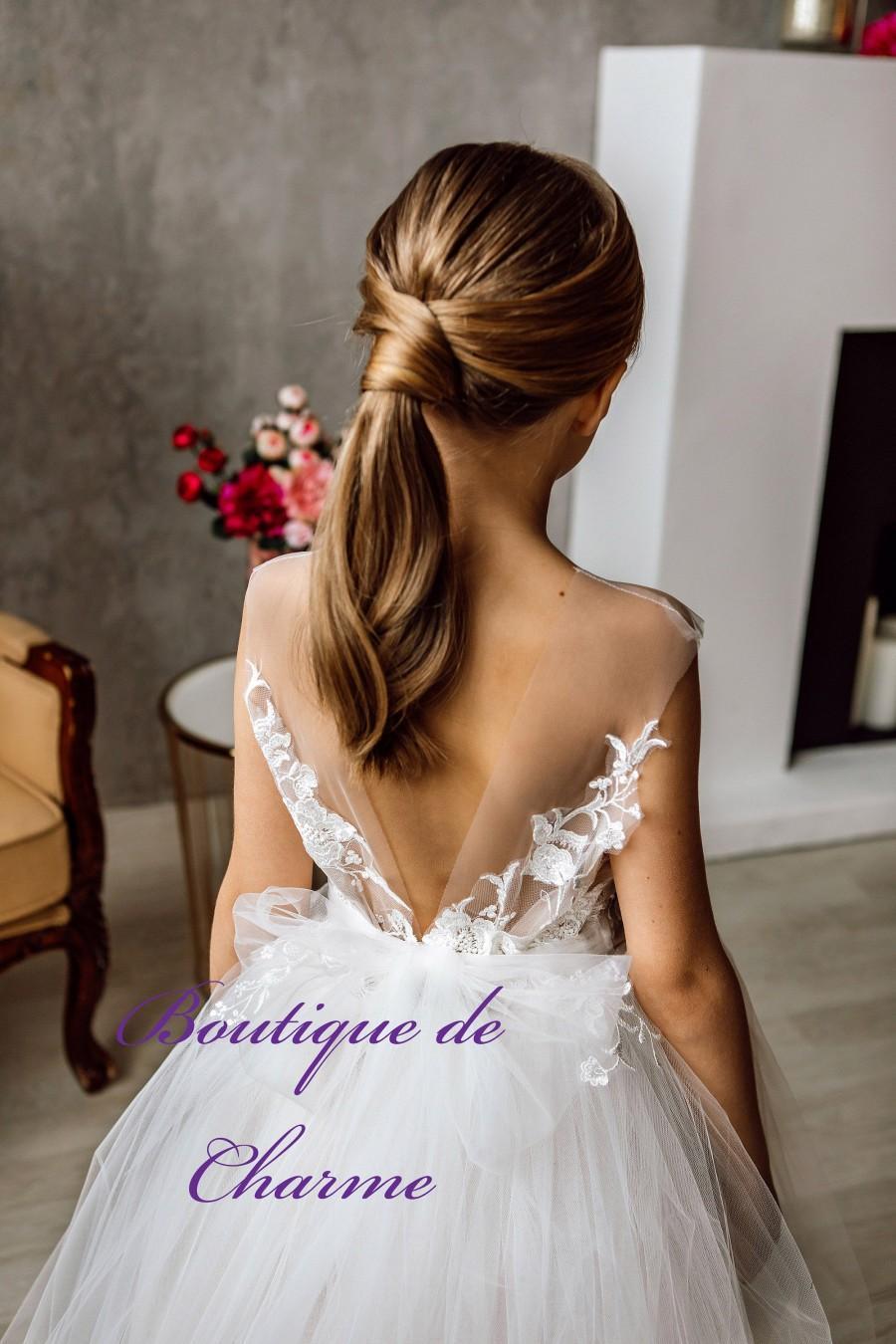 زفاف - White Flower Girl Dress,Girl Long Ivory Dress,Girl lace Dress,Ivory Flower Girl dress,Tutu Flower Girl dress,lace Flower  Girl Dress