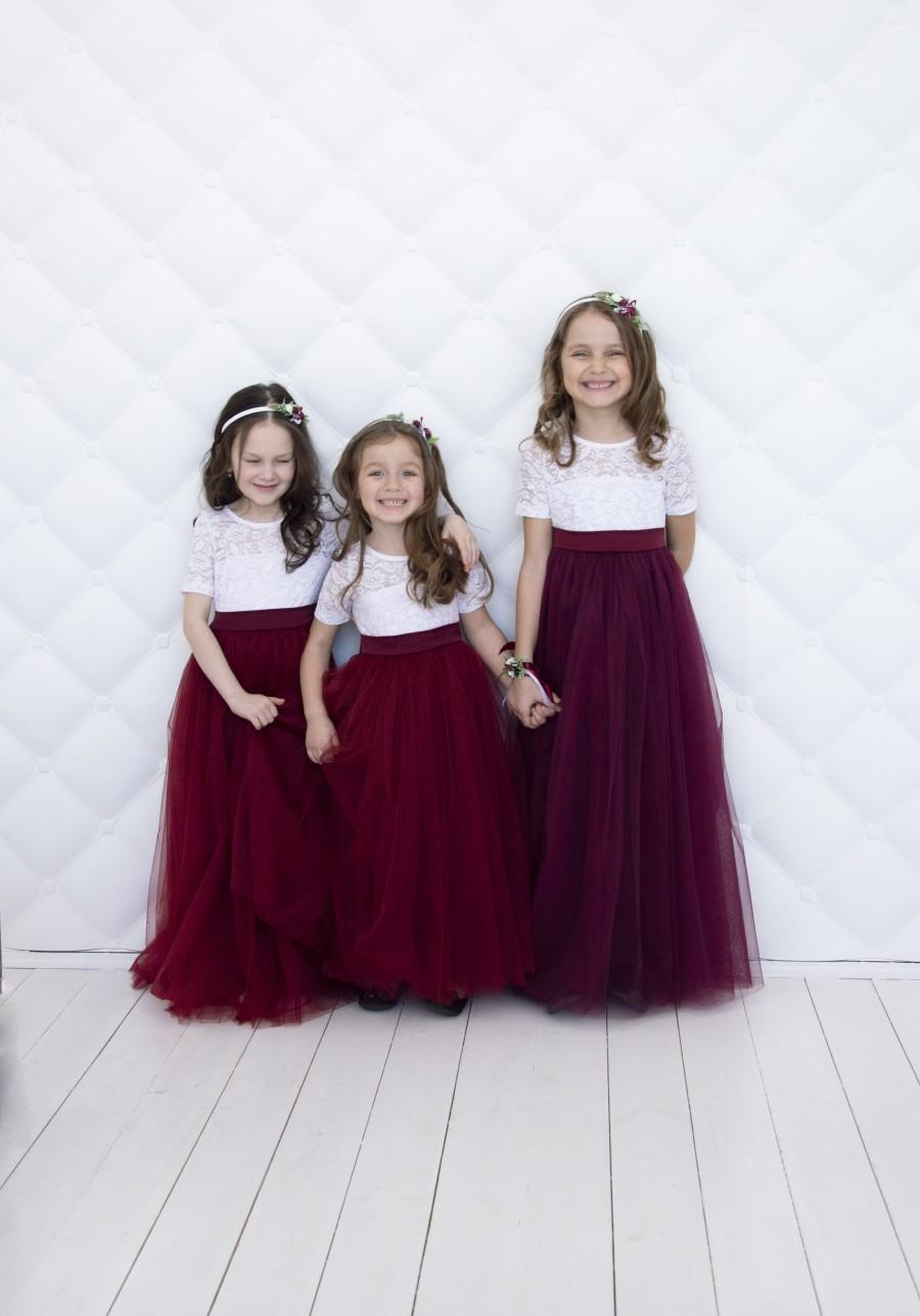 Hochzeit - Flower girl dress Wedding girl dress Lace girl dress Junior bridesmaid dress Birthday dress Burgundy girl dress Baby dress Girl party dress