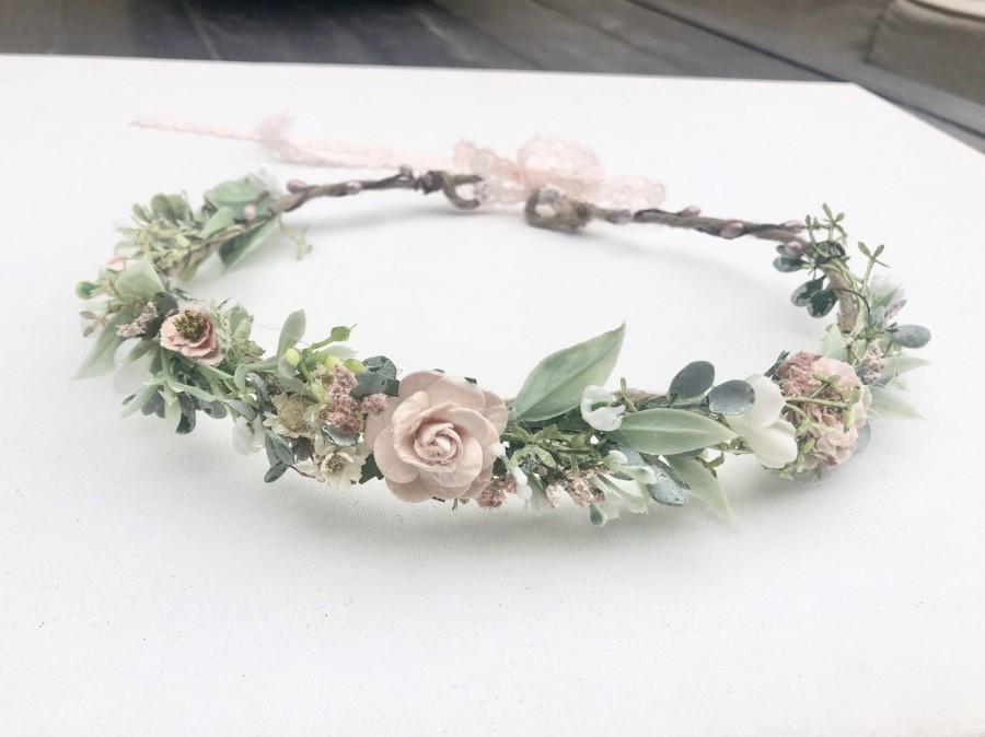 Wedding - Blush Flower Crown, Floral Crown- Baby Flower Crown, Wedding Flower Crown, Flower Girl Crown