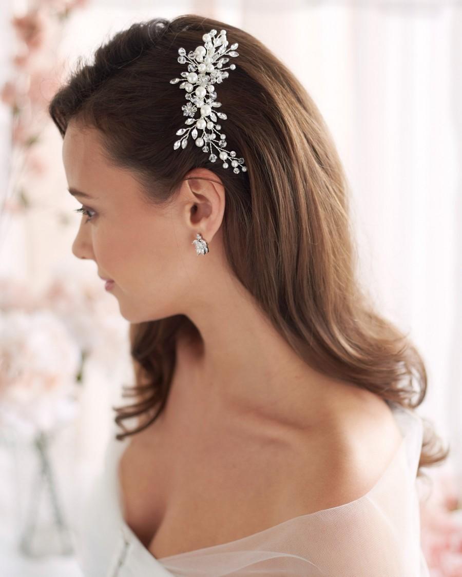 Wedding - Pearl Bridal Comb, Floral Wedding Comb, Bridal Hair Comb, Wedding Hair Accessory, Crystal Hair Comb, Pearl Comb, Bridal Headpiece ~TC-2293
