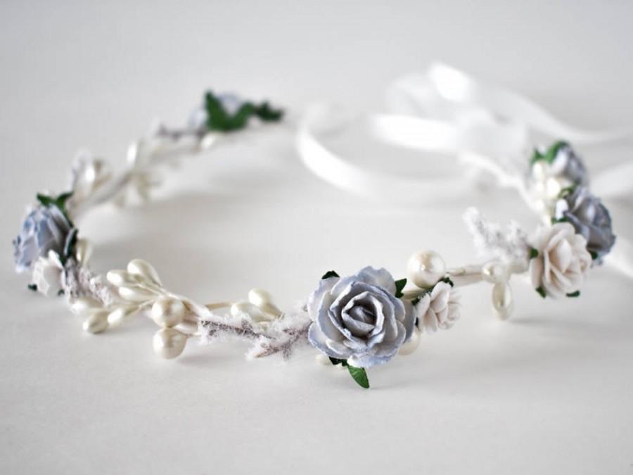 Wedding - White flower crown. Blue flower crown. Winter floral crown. Winter wedding headband. Frozen flower crown. Holiday flower crown.