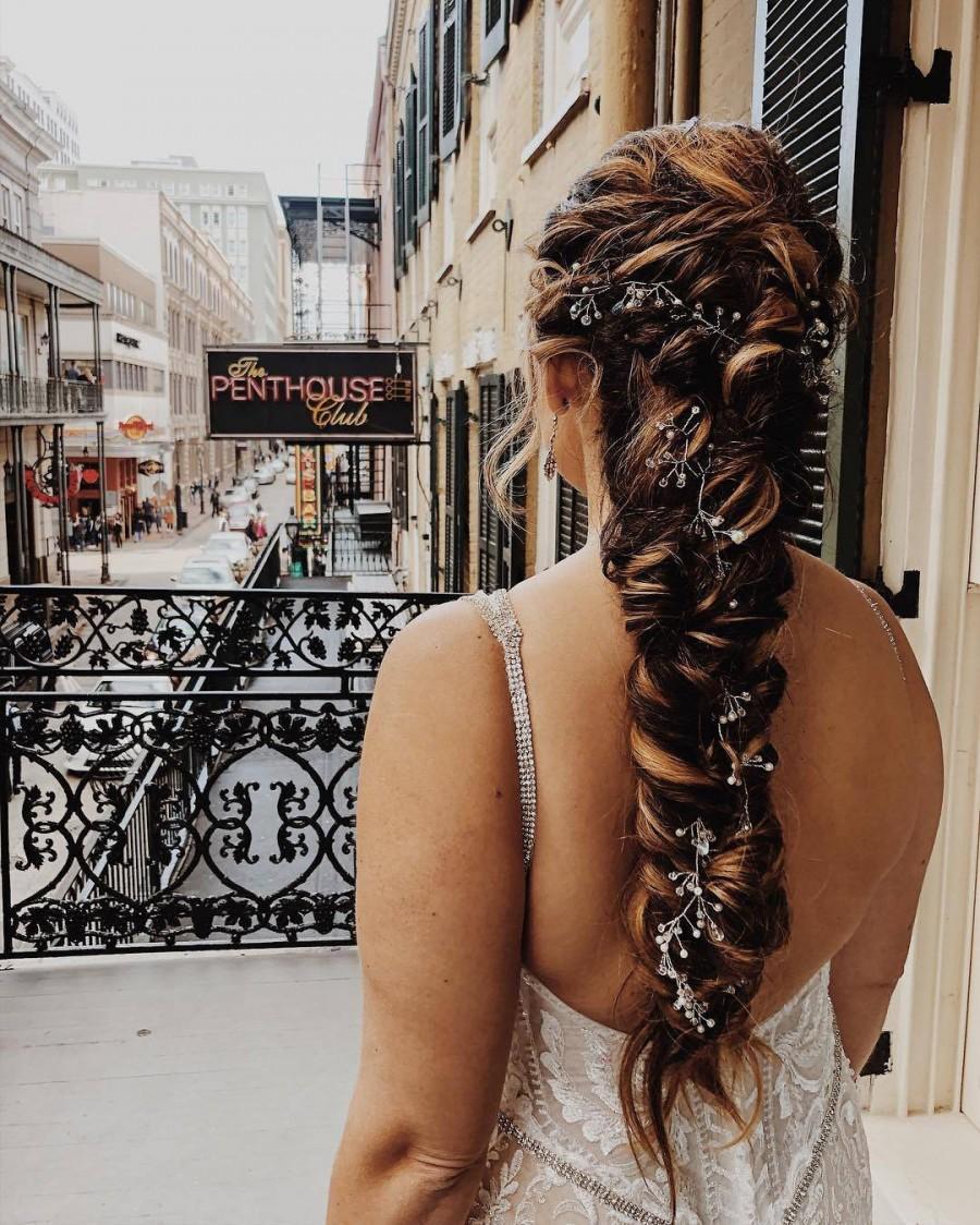 Wedding - Extra Long Headpiece Bridal Hair Vine Jewelry Silver Wedding Tiara Bridal Boho Headpiece Wedding Hair Vine Wedding Accessory Long Hair Vine