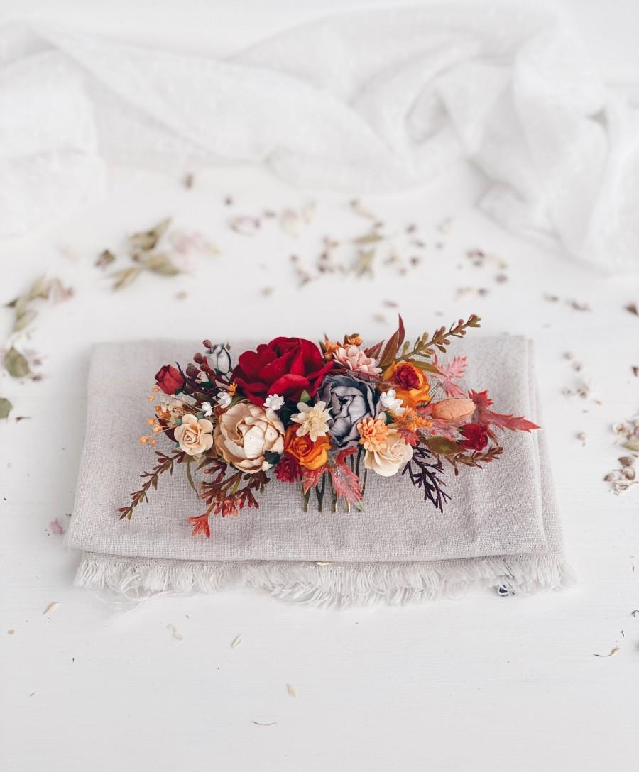 Wedding - Flower Hair comb, Burgundy flower hair comb, Fall Wedding flower hair comb, Bridal flower hair piece, Wedding hair clip, Autumn wedding hair