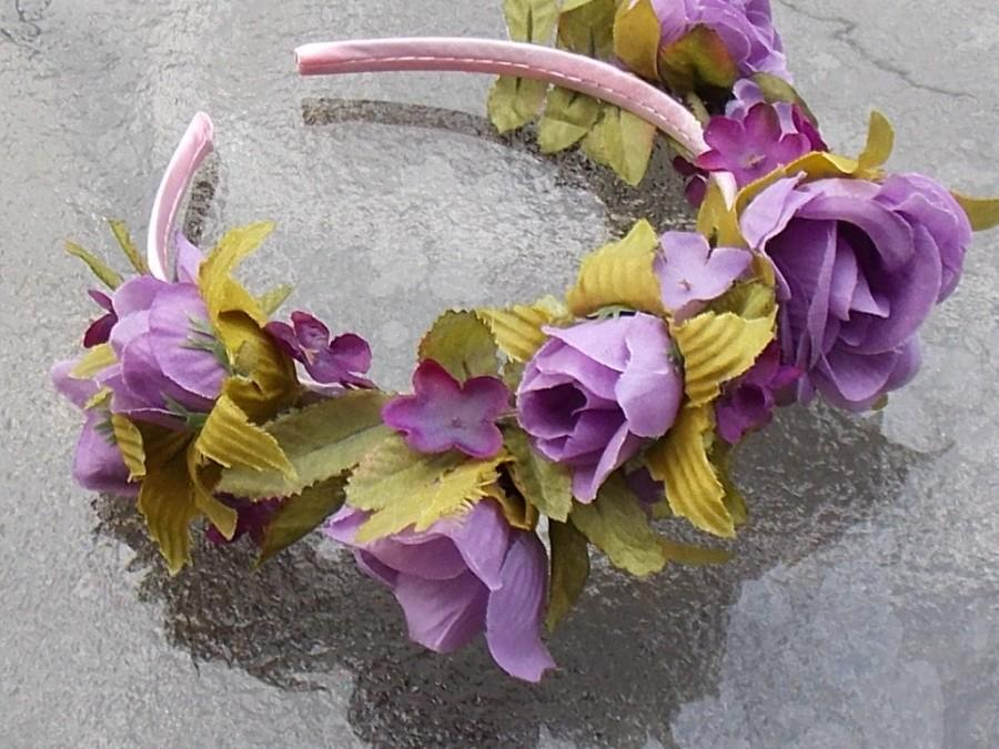 Wedding - Light Purple Fairy Queen Rose Crown with Lavender and Purple Color Flowers on Mauve Headband A04