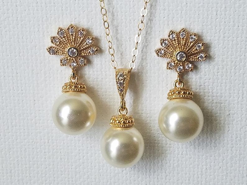 Wedding - Pearl Gold Bridal Jewelry Set, Swarovski 10mm Ivory Pearl Earrings&Necklace Set, Pearl Gold Wedding Jewelry, Bridal Bridesmaid Pearl Jewelry
