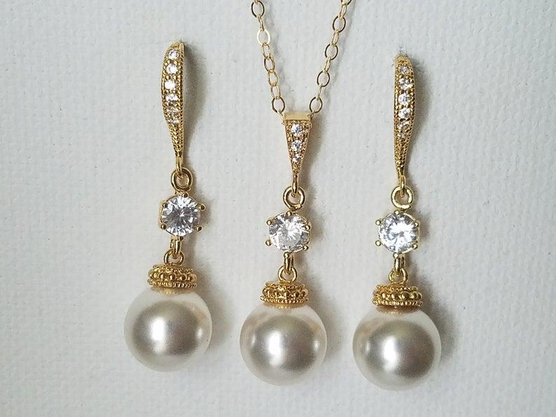 Wedding - White Pearl Gold Bridal Set, Swarovski 10mm Pearl Earrings&Necklace Set, Pearl Chandelier Earrings, Pearl Pendant, Bridal Bridesmaid Jewelry