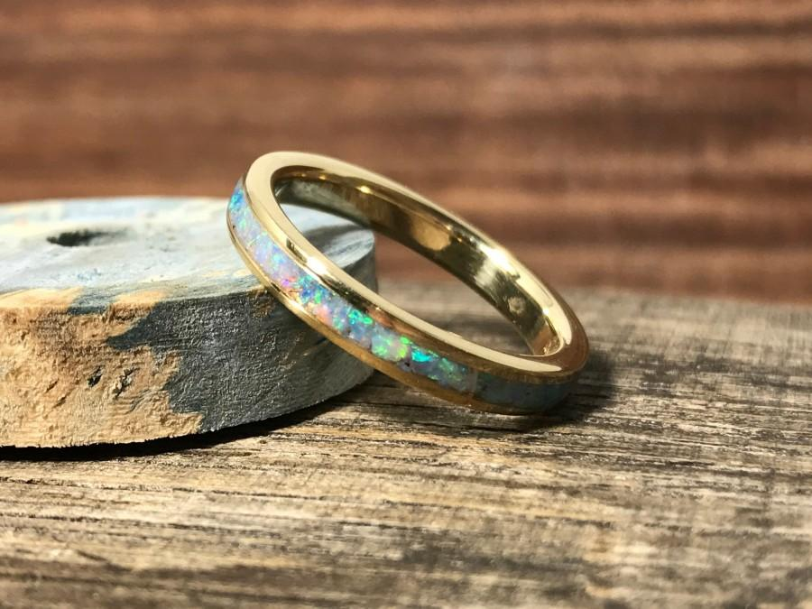 Свадьба - Yellow Gold and Opal Wedding Band, Opal Engagement Ring, Ladies Wedding Ring, Gold Wedding Band For Her, Gold Wedding Ring, RobandLean