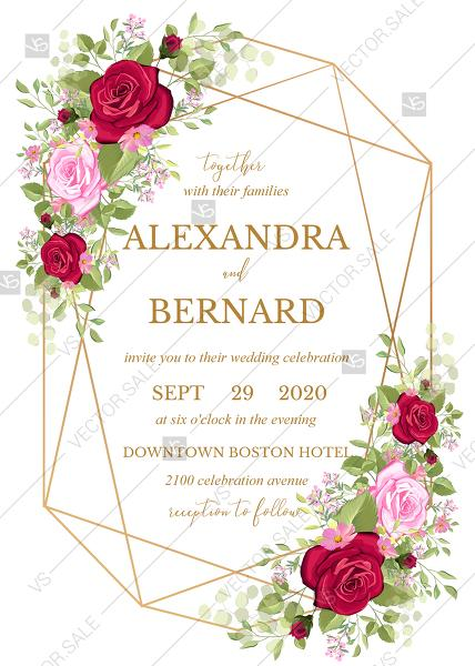 Свадьба - Wedding invitation set red pink rose greenery wreath card template PDF 5x7 in wedding invitation maker