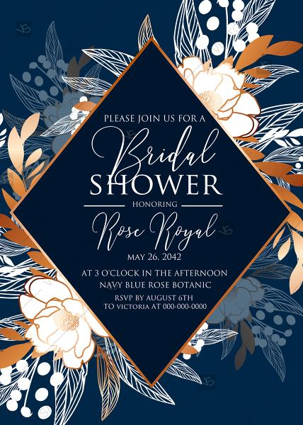 Mariage - Peony foil gold navy classic blue background bridal shower wedding Invitation set PDF 5x7 in wedding invitation maker