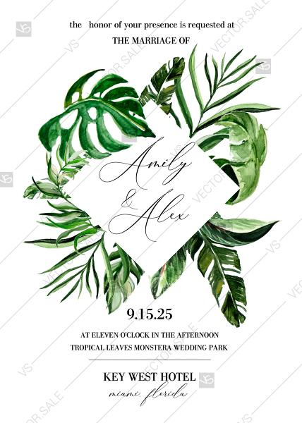 Свадьба - Tropical hawaii green banana monstera leaves palm wedding invitation template PDF 5x7 edit template