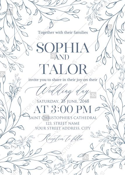 Hochzeit - Laurel wreath herbal letterpress design wedding invitation set PDF 5x7 in invitation maker
