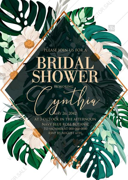 Wedding - Green emerald foil gold tropical monstera palm leaves bridal shower wedding invitation set PDF 5x7 in maker online editor