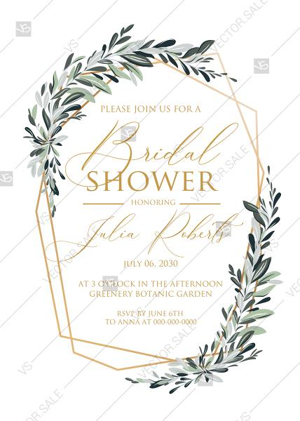 Mariage - Minimalist olive branch greenery Wedding Invitation set bridal shower PDF 5x7 in invitation editor