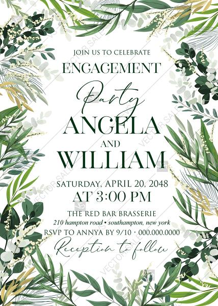 Mariage - Provence bohemian greenery and field herbs wedding engagement party invitation set PDF 5x7 in edit template