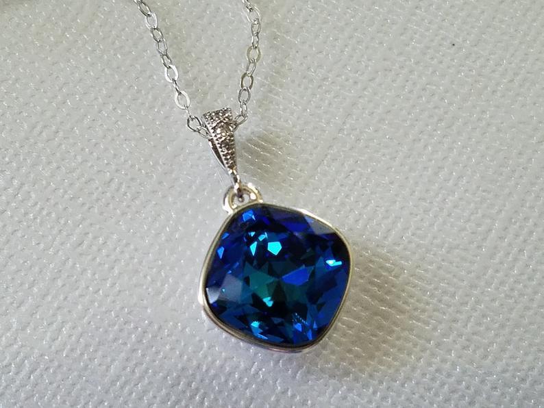 زفاف - Bermuda Blue Crystal Necklace, Swarovski Bermuda Blue Pendant, Peacock Silver Necklace, Wedding Peacock Jewelry Bermuda Blue Bridal Necklace