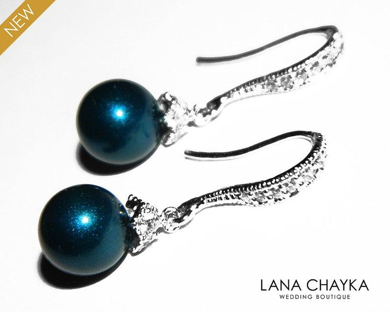 زفاف - Dark Teal Peacock Pearl Earrings, Swarovski 8mm Petrol Silver Bridal Earrings, Teal Pearl Drop Dangle Earrings, Wedding Bridesmaids Jewelry