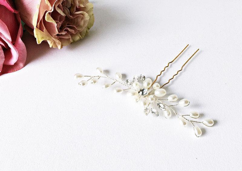 Wedding - 1x Bridal Hair Jewelry Beads: Crystals Flower Shape