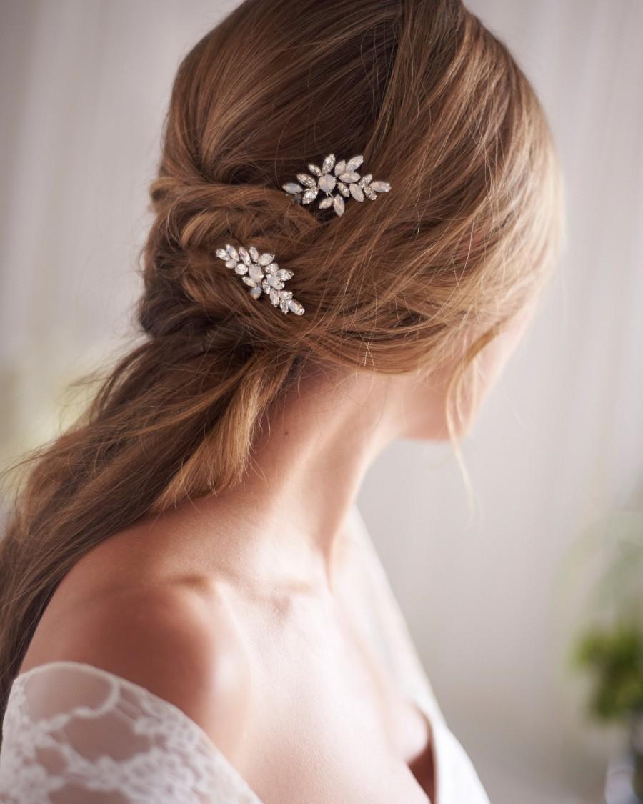 Wedding - Opal & Crystal Hair Pins, Opal Wedding Hair Pin, Bridal Hair Pin, Silver Opal Wedding Hair Pins, Bridal Hair Pin, Wedding Hair Pin ~ TP-2847
