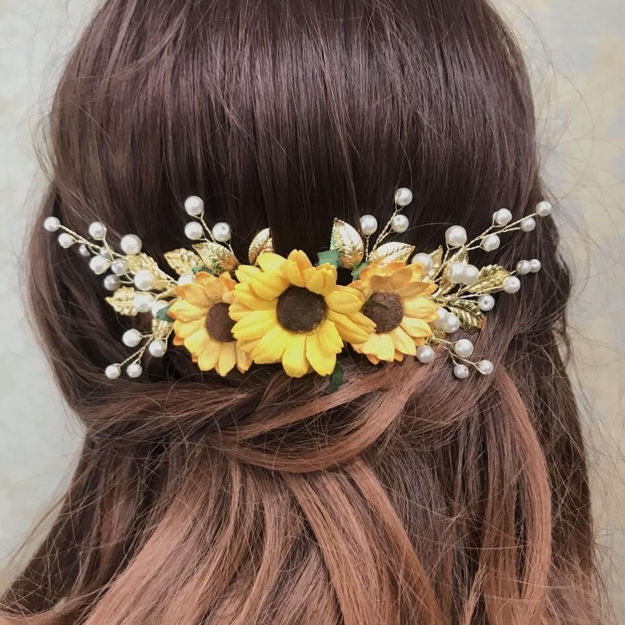 Hochzeit - Sunflower hair clip, Sunflower hair comb, Sunflower hair piece , Sunflower hair piece, Sunflower hair accessories, Sunflower headpiece