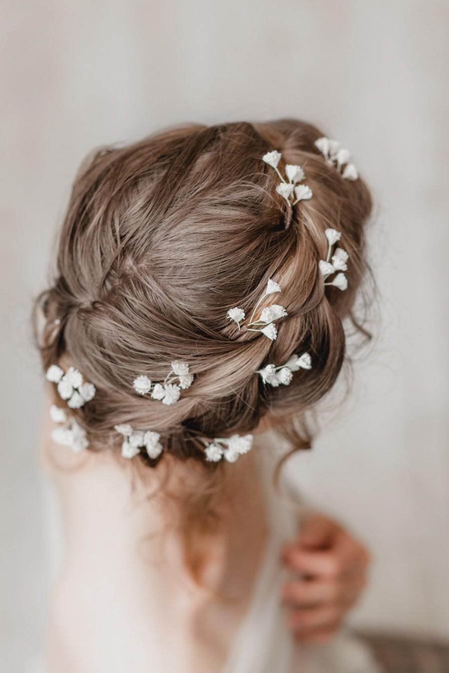 Mariage - Baby Breath Bridal Hair Piece, Rustic Wedding Hair Piece, Flower Hair Pin, Gypsophila Bobby Pin, Bridesmaid Hair Accessory, Floral Headpiece