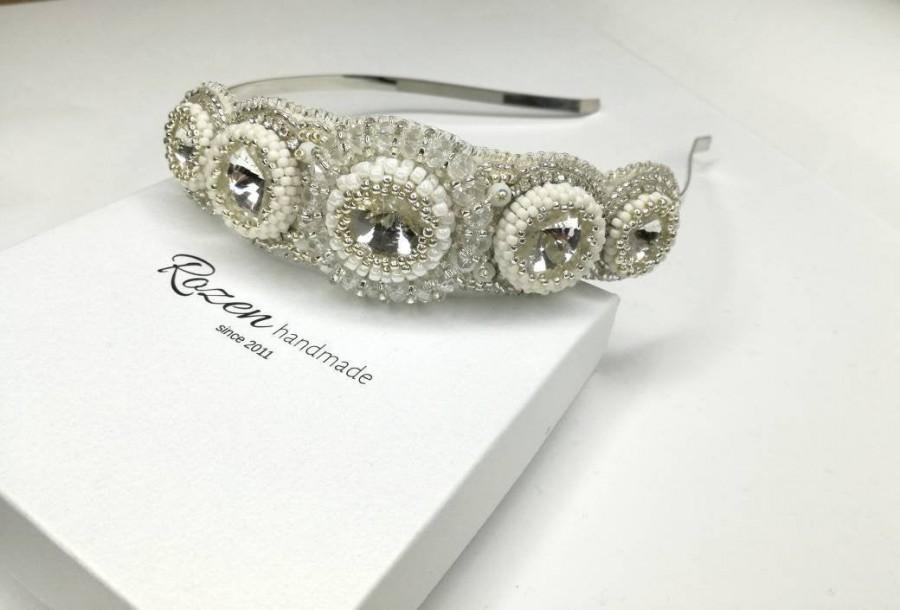 Wedding - Contemporary white wedding  headpiece, Bridal crystal headband, Wedding embellished hair piece, Crystal wedding head piece, Couture headband