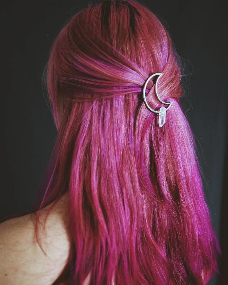 زفاف - Luna MOONCLIP ~ Quartz Hair Clip. Accessories. Barrette. Witch. Witchy. Goth. Moon. Hairpiece. Silver Moon. Fairy. Festival. Crescent Moon.