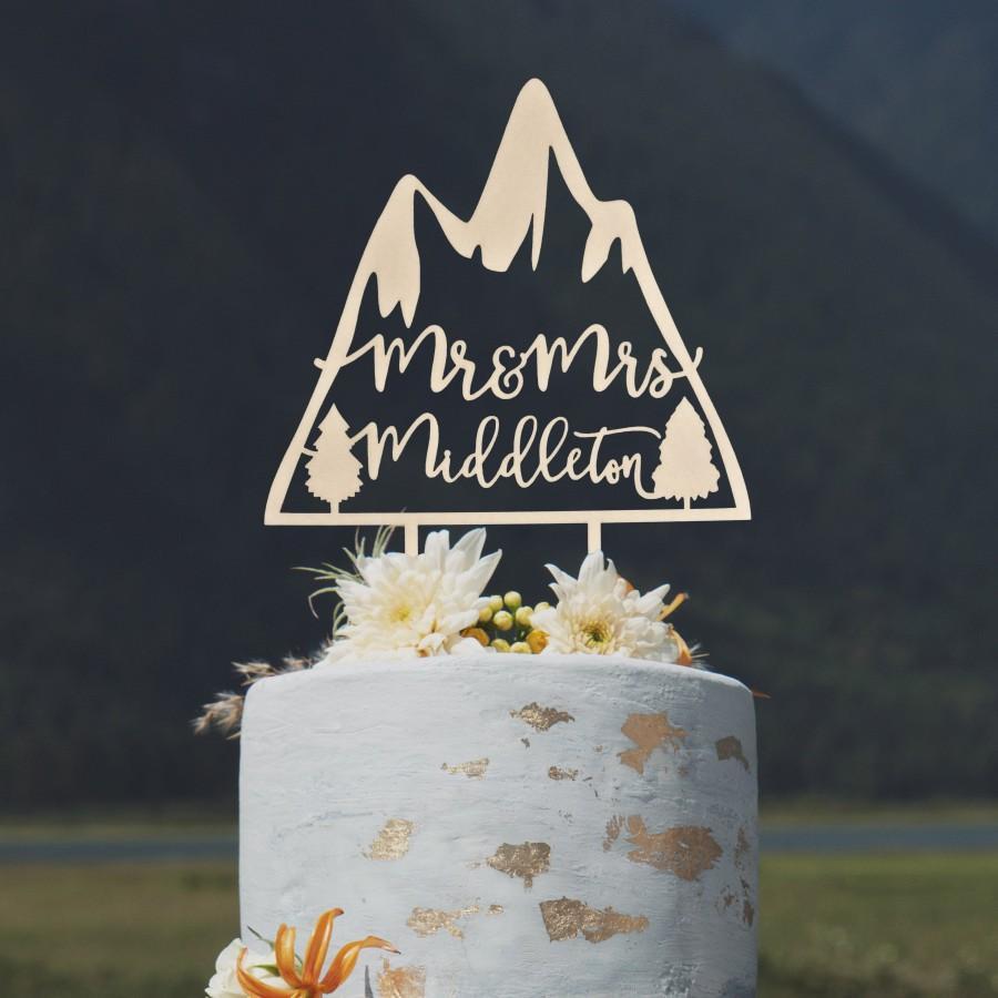 Свадьба - Custom mountain wedding cake topper, Unique wedding cake topper, Travel wedding cake toppers, Mr and Mrs cake topper