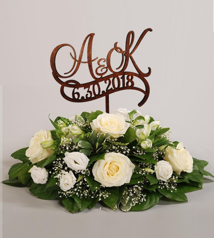 Свадьба - Two initials wedding cake topper with date Letter Cake Topper K Wedding Cake Topper date Custom Personalized Cake Toppers