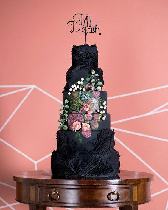 زفاف - Till Death - Rustic Cake Topper - Wire Cake Topper - Gothic Cake Topper - Personalized Cake Topper - Rustic Chic - Halloween Wedding