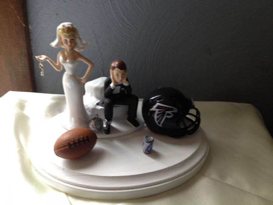 Wedding - Atlanta Falcons  Wedding Cake Topper Bridal Funny Football team Themed Ball and Chain Key with matching garter Hair color changed for free