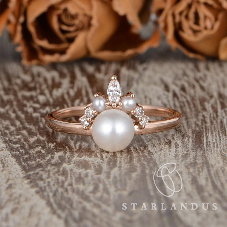 Свадьба - Pearl Engagement Ring Akoya Pearl Ring Cluster Rose Gold Engagement Ring Marquise Diamond Band Solitaire Mini Pearl Ring Promise Birthstone