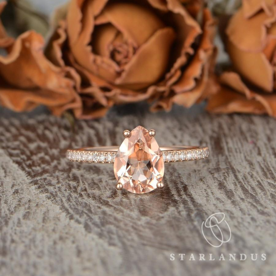 Свадьба - 6x8mm Morganite Engagement Ring Pear Shaped Solitaire Engagement Ring Rose Gold Tear Drop Classic Custom Moissanite  Accents Ring For Women