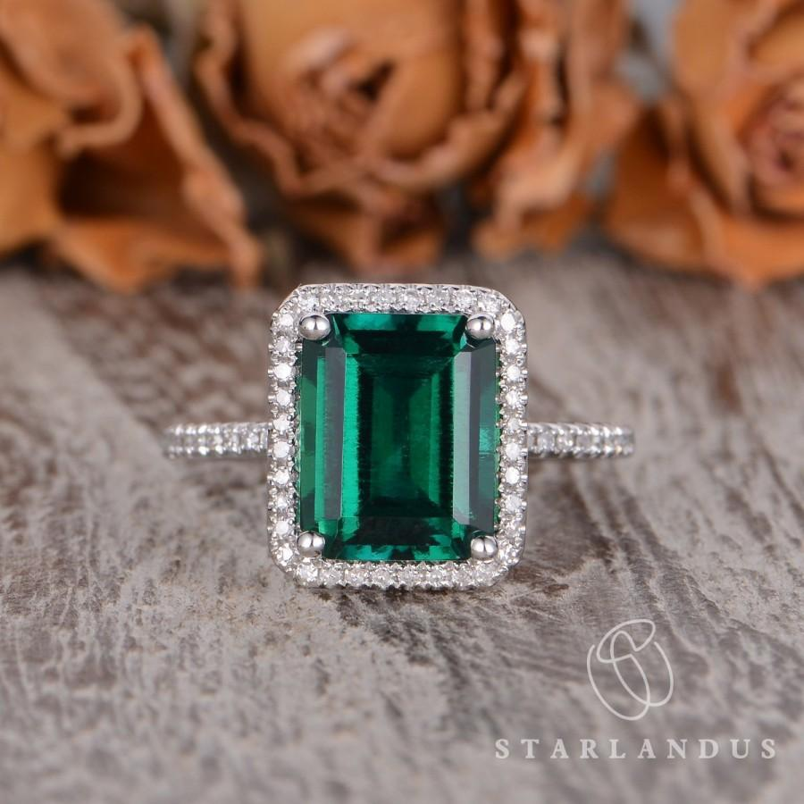 Свадьба - Lab Emerald Engagement Ring White Gold Wedding Ring Emerald Cut Lab Emerald Halo Cocktail Ring May Birthstone Bridal Ring For Women Classic