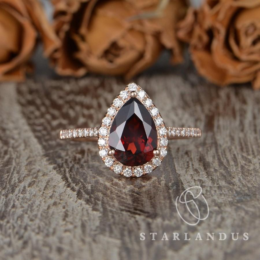 Hochzeit - 7x10mm Pear Shaped Garnet Engagement Ring Rose Gold Pear Shaped Engagement Ring Vintage Ring Women January Birthstone Ring Gift For Her