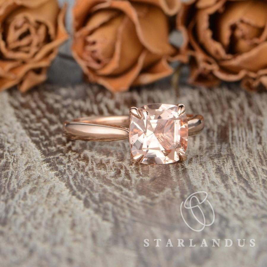 Mariage - Cushion Cut Morganite Ring Morganite Engagement Ring Solitaire Engagement Ring Claw Prongs 8mm 2ct Morganite Ring Simple Wedding Bridal Ring