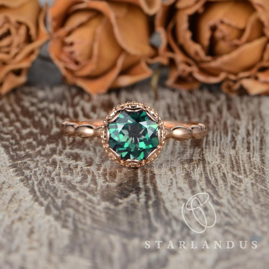 زفاف - Lab Emerald Engagement Ring Rose Gold Antique Emerald Ring Vintage Engagement Ring Milgrain Unique Flower Halo Solitaire Ring Beaded Vine