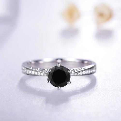 Свадьба - Round Cut Black Diamond Engagement Ring 14k White Gold Palladium Platinum Black Diamond Ring Handmade Anniversary Ring
