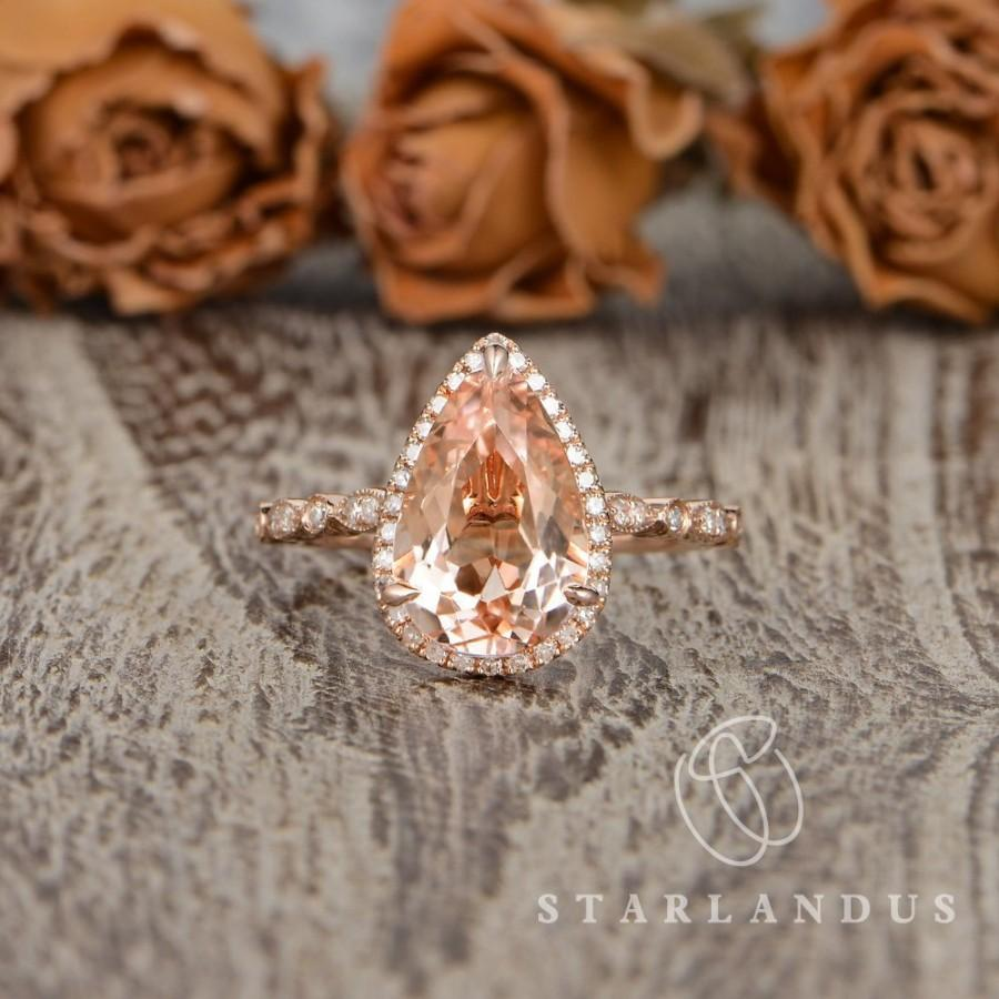 Hochzeit - 3ct Morganite Ring Pear Shaped Engagement Ring Rose Gold Art Deco Wedding Ring For Women Unique Vintage Ring Morganite Jewelry Retro Ring a