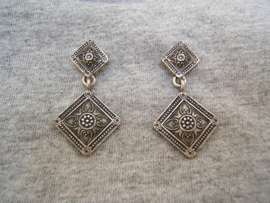 زفاف - Statement Vintage Bohemian Boho Chic Earring Jewelry Handmade in America USA, Gold Silver or Copper Antiqued Gift for Girlfriend Wife #31009